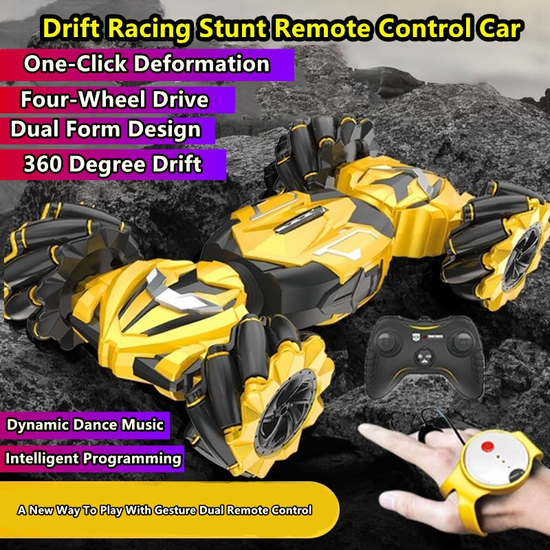 4WD Drift RC Car Intelligent Programming A Key Racing Deformation Gesture Sensing Automatic Demo Music light Children's RC Toy