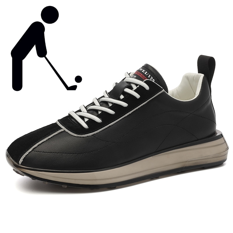 Brand Men Golf Shoes Comfortable Non-slip Grass Golf Sneakers Men Outdoor Fashion Lace-up Walking Shoes Black and White Sneakers new professional golf shoes men white black waterproof golf sneakers outdoor light weight footwear for men walking shoes