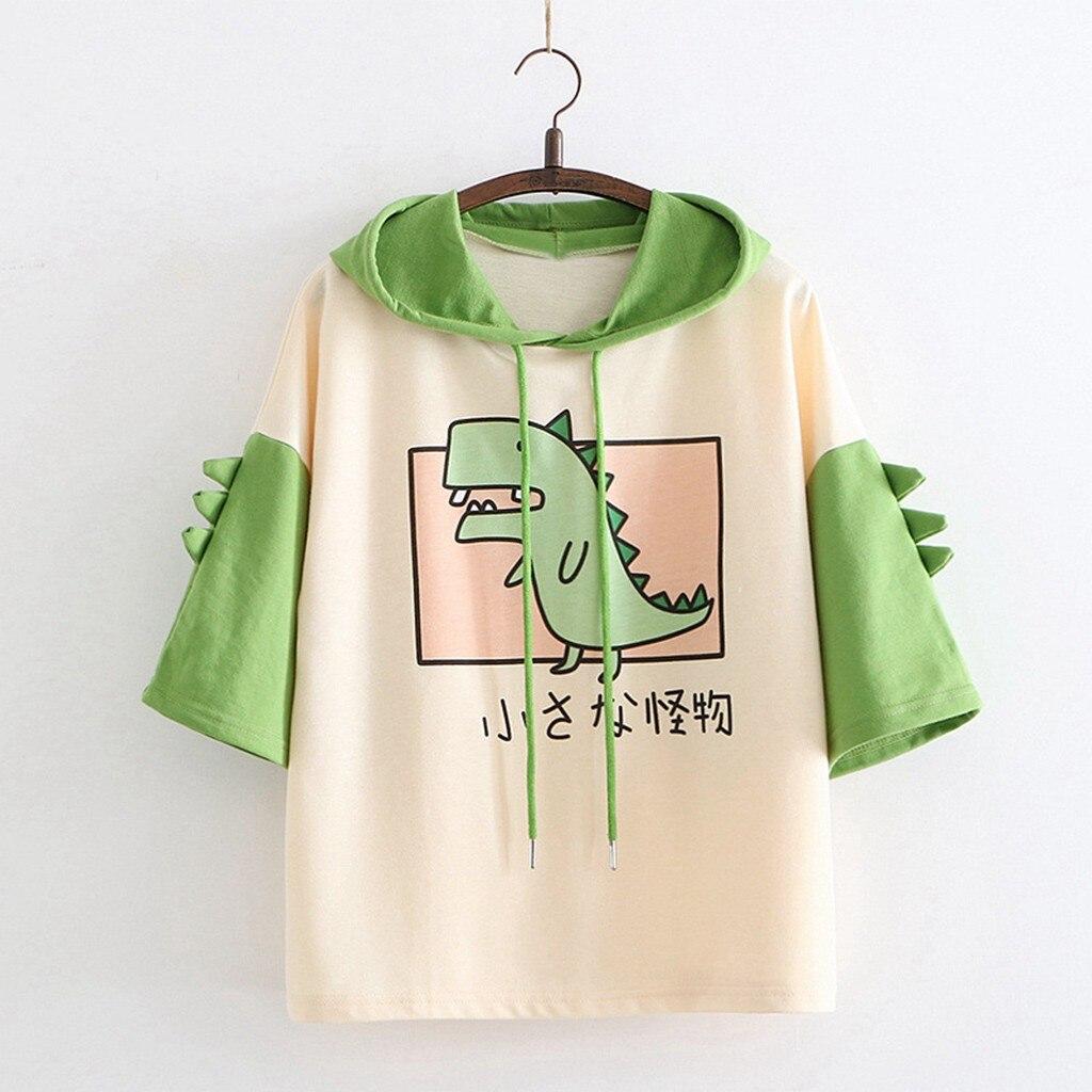 Camiseta de dinosaurio, sudaderas con capucha para mujer, jerséis de verano, Tops con cuernos, Harajuku, chicas con capucha, adolescentes, Linda camiseta con capucha Kawaii, novedad de 2020
