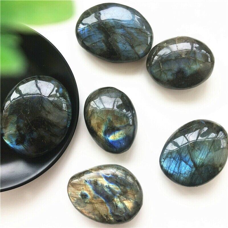 Labradorita-piedra de Palma de cristal natural y mineral, piedras naturales de cuarzo,...