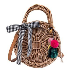 Women Straw Bag Summer Beach Rattan Shoulder Bags Holiday Tote Handbag Crossbody M5TE