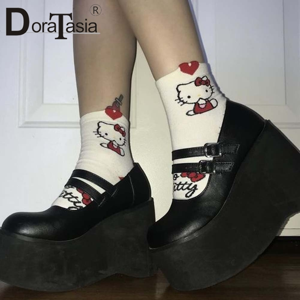 DORATASIA-أحذية نسائية بكعب عالٍ ، أحذية نسائية بكعب عالٍ بإبزيم ، منصة ، أحذية حفلات ، ماري جينس ، مقاس كبير 35-43