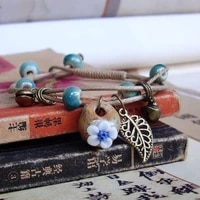 simple fashion hand pinch ceramic flower flower pendant bracelet ethnic style hand woven jewelry student womens accessories