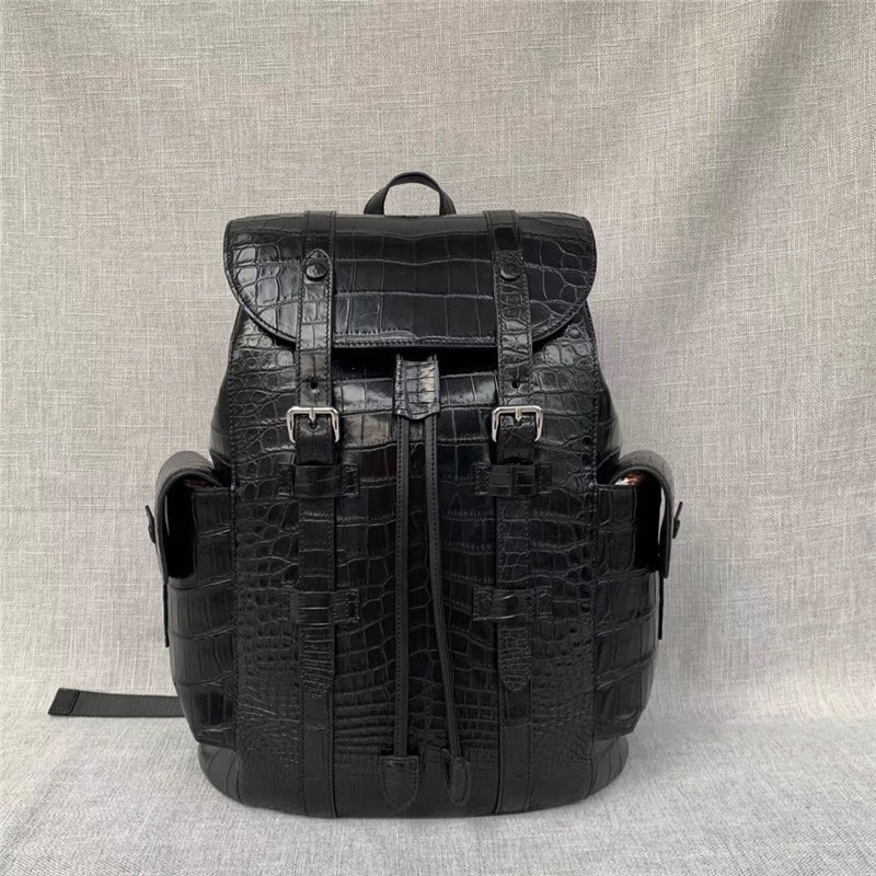 Authentic Crocodile Belly Skin Drawstring Closure Male Flap Pockets Backpack Exotic Alligator Leather Men Large Travel Bag Pack