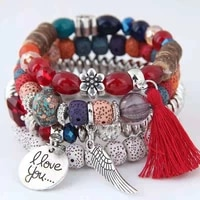 xuxi women beaded charms bracelet fashion ethnic style round card letter pendant with multi layer tassel stretch s087