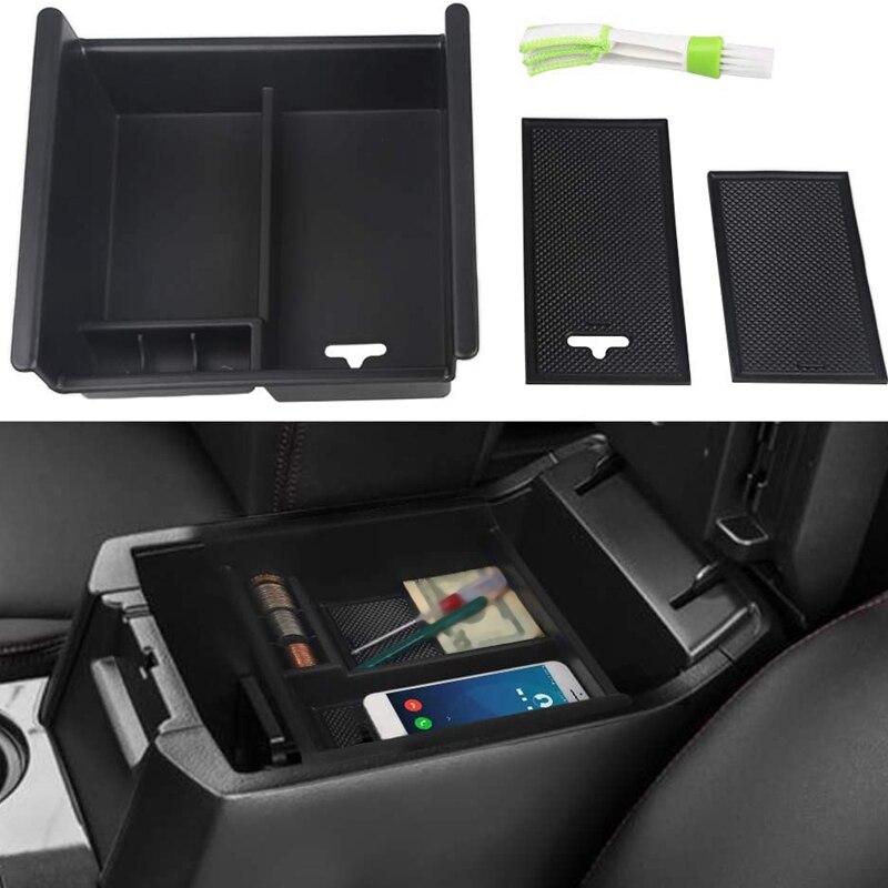 Compartimento central para coche, caja de almacenamiento de reposabrazos ABS negro con bandeja divisora de orificios USB, organizador con cepillo limpiador para Toyota 4Runner 2010