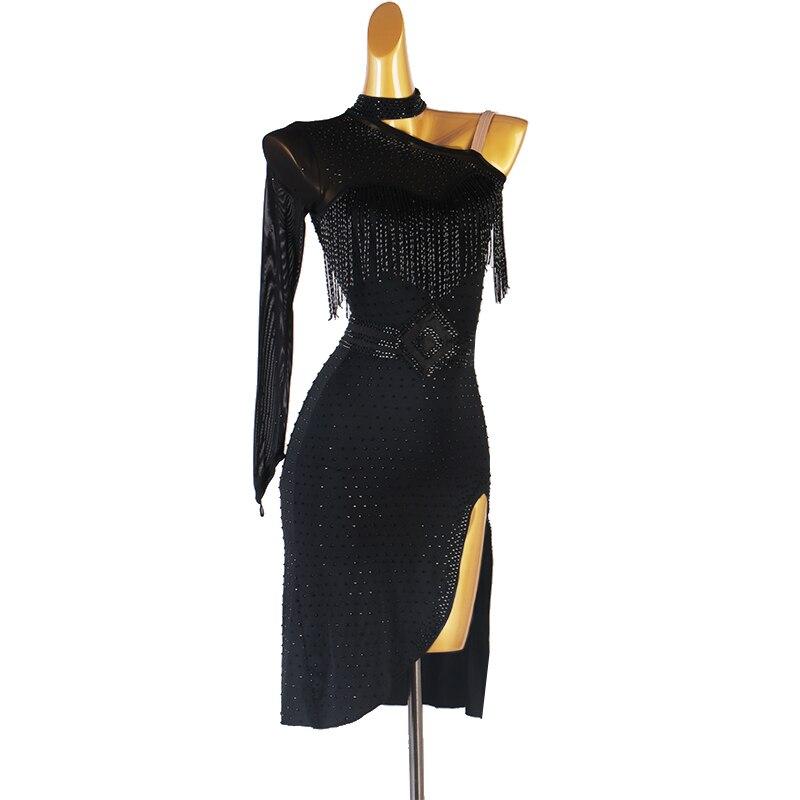 Черное горячее платье для латинских танцев со стразами, костюм для выступлений, профессиональное платье с цветочным рисунком, юбка для танц...