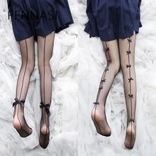 FENNASI Sticky mallas de malla para mujer Sexy ajustado erótico Pantyhose moda Lolita dulce chica Bowknot lindo negro medias de red
