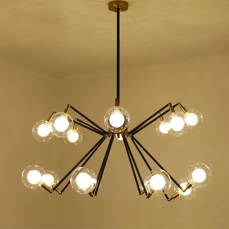 Araña de hierro forjado, iluminación de araña, candelabro de rama de vidrio Simple Post-moderno, Lustre de grano mágico para sala de estar o dormitorio