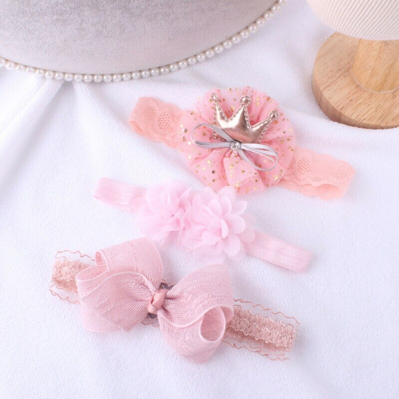 3 unids/set diadema para bebé niña cinta tocado elástico niños banda de pelo para Recién Nacido arco para Niña 0-3 años