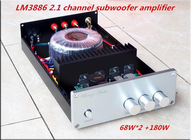AMPLIFICADOR DE POTENCIA HiFi LM3886 2,1 canal 68W * 2 + 180W * 1 Subwoofer 190*70*311MM amplificador Bluetooth 4,2