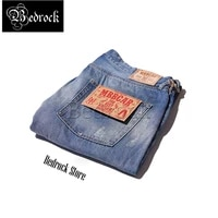 bedrock 13 5oz heavy soft jeans hole distressed cat whiskers blue craft washed raw denim jeans for men loose straight jeans 7299