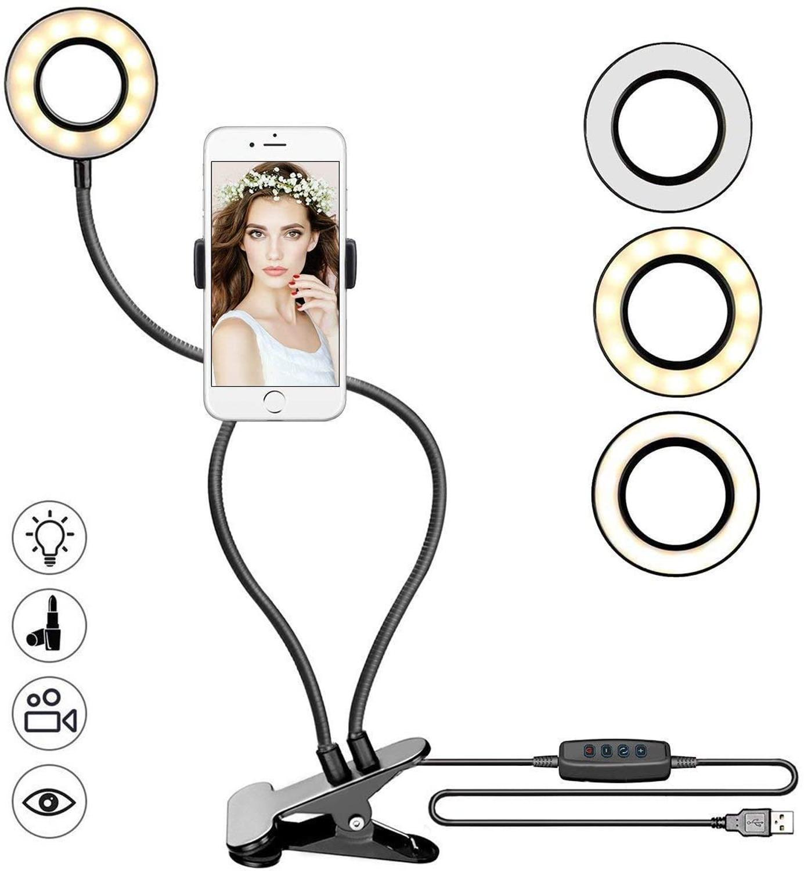 Soporte para teléfono móvil Anillo de luz LED regulable Selfie fotografía maquillaje soporte Luz de relleno con 3 modos de luz para cámara de vídeo