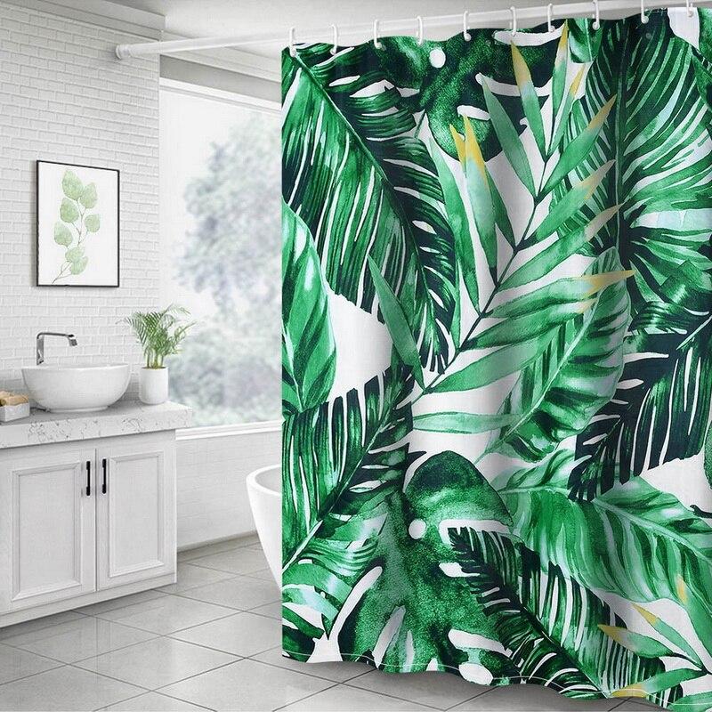 Cortina de ducha de plantas Nibesser impermeable con impresión 3D, cortina de ducha de tela lavable, cortina de ducha de baño 180x180cm
