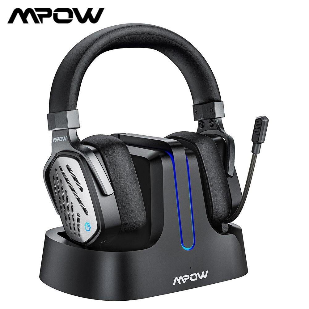 Mpow-سماعة رأس لاسلكية للألعاب T1 2.4 جيجاهرتز ، مع كابل 3.5 مللي متر ، لأجهزة الكمبيوتر وأجهزة PS4 والكمبيوتر الشخصي