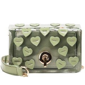 Heart-shaped Transparent Bag For Women Handbag Small Chain Crossbody Bags Ladies Beach Bags Mini PU Leather PVC Messenger Bag