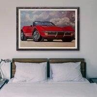Peinture classique voiture de course retro rouge convertible  4 affiches personnalisees en soie  decoration murale  cadeau de noel  T171