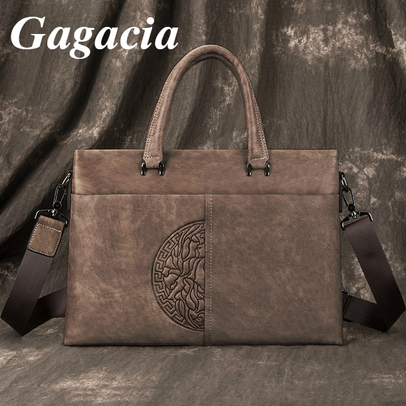 Gagacia Vintage Genuine Leather Briefcase For Men's Bag Business Handbag Male Laptop 13 Inches Shoulder Bags Tote Men Briefcase