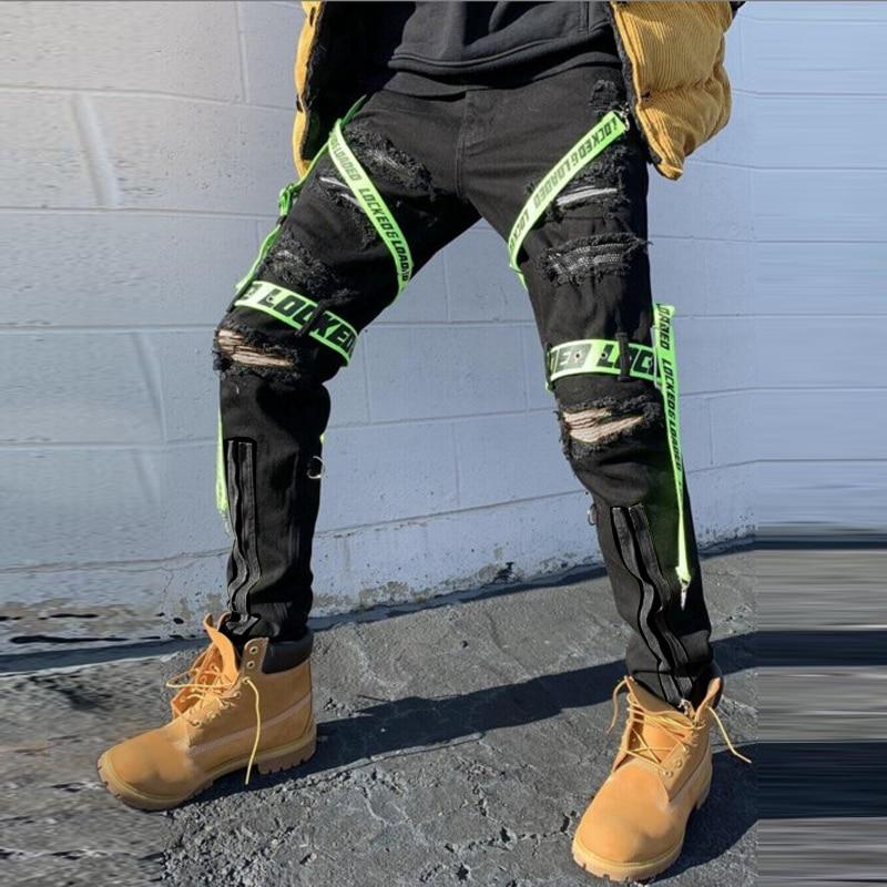 Новинка облегающие мужские джинсы модные брюки 2021 уличные повседневные Черные прямые брюки в стиле хип-хоп модные мужские брюки