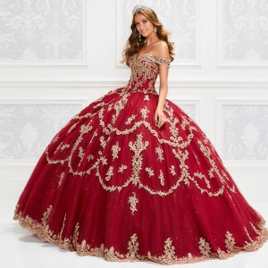 Red Princess Sleeveless Ball Gown Quinceanera Dresses Off The Shoulder Gold Appliques Sweet 16 Prom Dress vestidos de 15 años