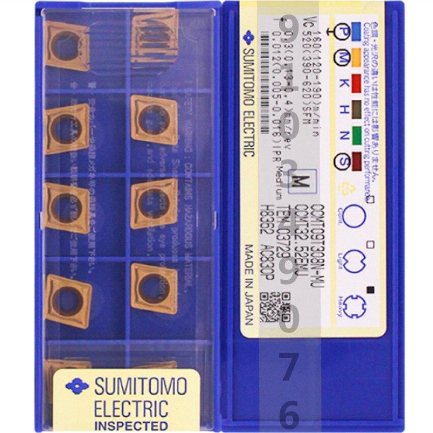 CCMT09T304N-MU AC820P/CCMT09T308N-MU AC820P/CCMT09T304N-MU AC830P/CCMT09T308N-MU AC830P CNC كربيد إدراج 10 قطعة/صندوق