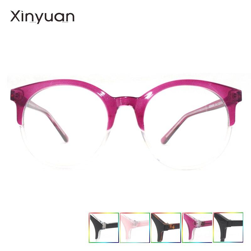 CP018 XINYUAN круглые розовые очки Классическая Прозрачная Круглая оправа женские прозрачные линзы очки для близорукости винтажные оптические о...