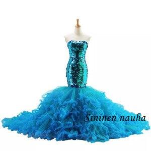 Shiny Mermaid Evening Dresses Sequined Lace Up Court Train Trumpet Formal Dress for Wedding Vestidos De Festa Robe De Soiree 437
