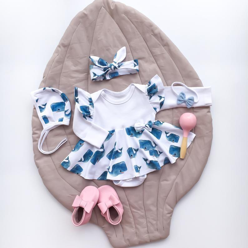 2020 niños recién nacidos niñas Ruflles manga larga blanco mono ropa con ballenas 2 fotos diadema conjunto 0-24M
