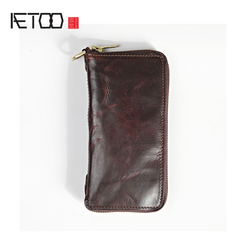 AETOO-محفظة جلدية طويلة للرجال ، محفظة جلدية بسحاب من النحاس الخالص مع دباغة الخضار المصنوعة يدويًا