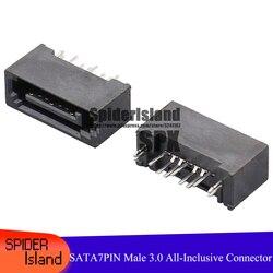 50 pces/100 pces sata 7pin masculino all-inclusive tipo a 3.0 dupla fileira 180 graus interface para pcb diy