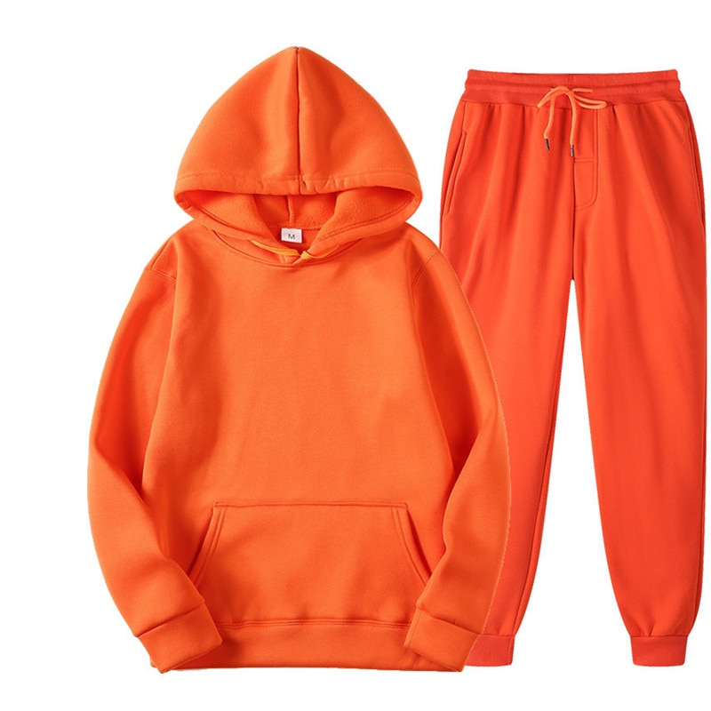 Women's Men's Tracksuits Sets Solid Color Casual Sets Autumn Winter Lovers Hoodies And Pants Two-Pie