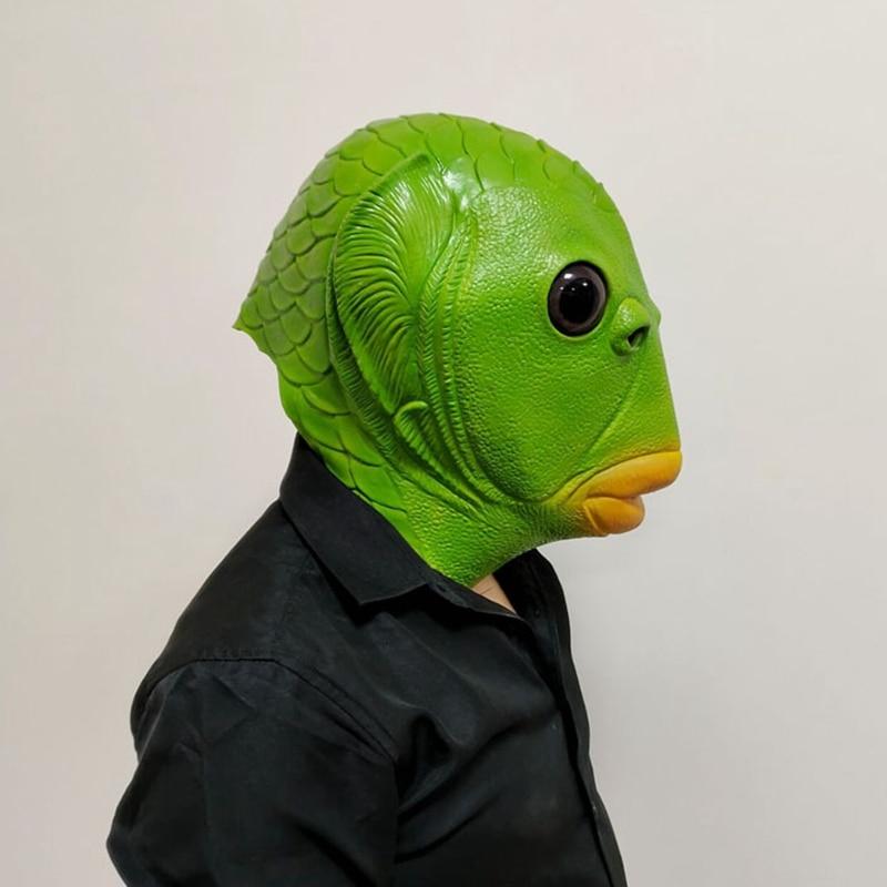 Variant Fish Man Headgear Alien Cosplay Halloween Spoof Creative Mutant Fish Adults Unisex Latex Material Accessories Headgear