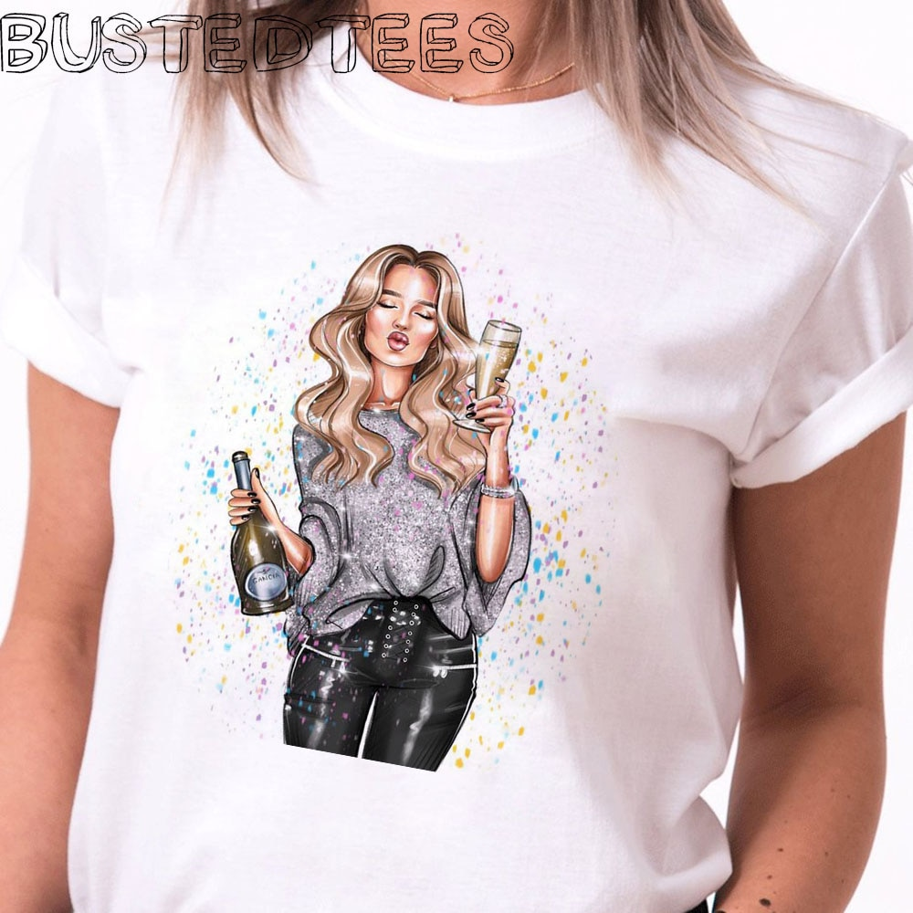 2019 nueva llegada 90s Harajuku mujeres moda chica Champagne estampado algodón camiseta Happy estetic suave Tops de talla grande Shein gótico