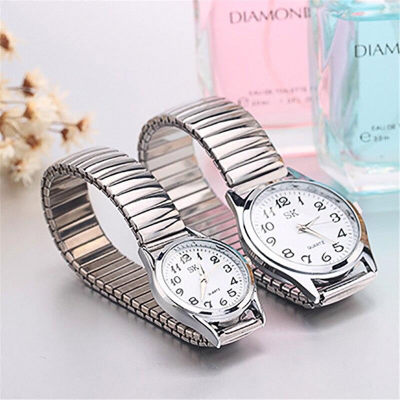 Par de relojes de pulsera para hombre/mujer a la moda restaura cuarzo Acero inoxidable banda elástica relojes de pulsera de negocios únicos