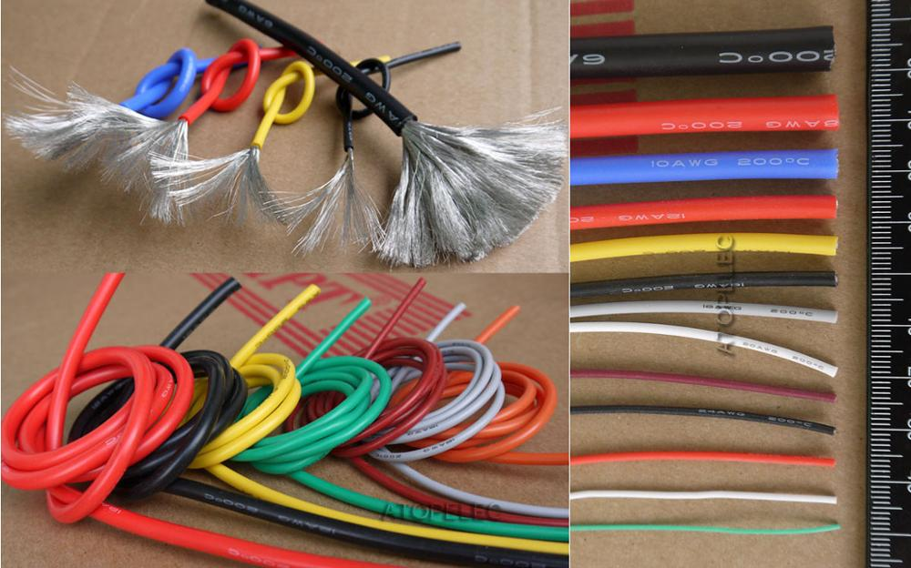 1M Cable Flexible de silicona cobre estañado Super suave Cable RC alta temperatura 200Deg.C UL 2/4/6/7/8 AWG negro/rojo