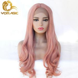 Yomagic Hair Rose Pink Synthetic Hair Wigs with Natural Hairline Long Body Wave Glueless Lace Front Wigs For Women