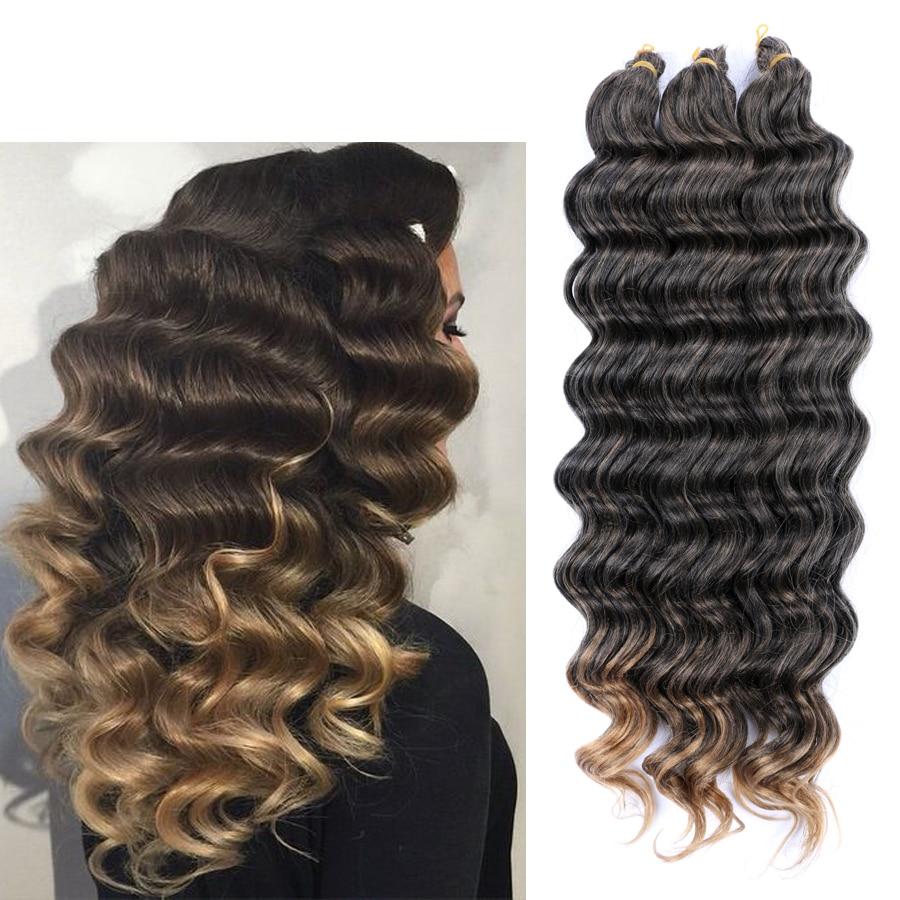 DAIRESS 22 Deep Wave Bulk Hair Crochet Braids Synthetic Braiding Wavy
