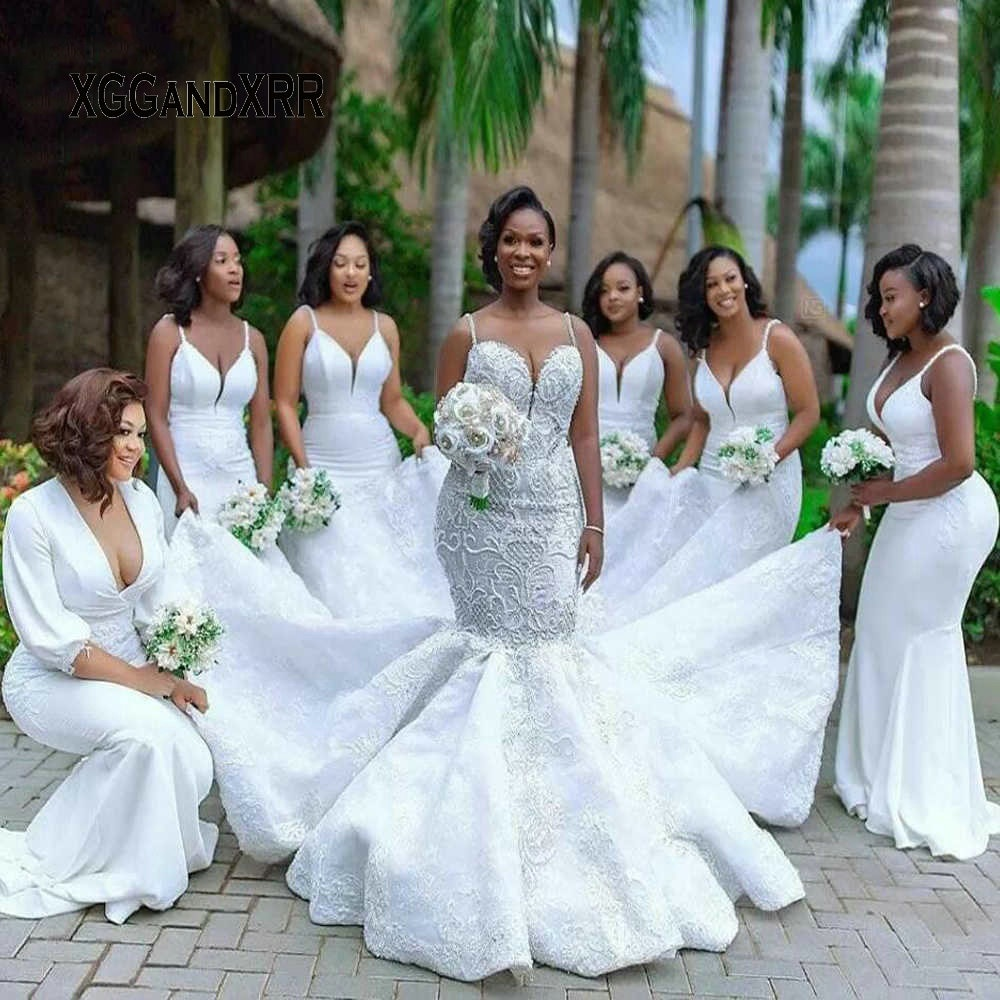 فستان زفاف فاخر على شكل حورية البحر ، فستان زفاف أفريقي ، دانتيل ، ظهر مكشوف ، لؤلؤ ، أبيض ، أسود ، 2020