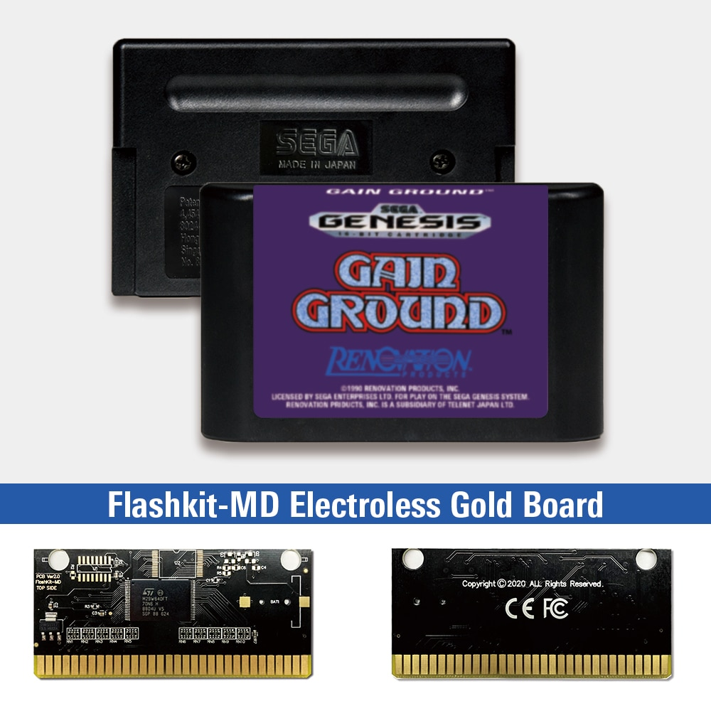 Gain Ground - USA Label Flashkit MD, tarjeta PCB de oro sin...