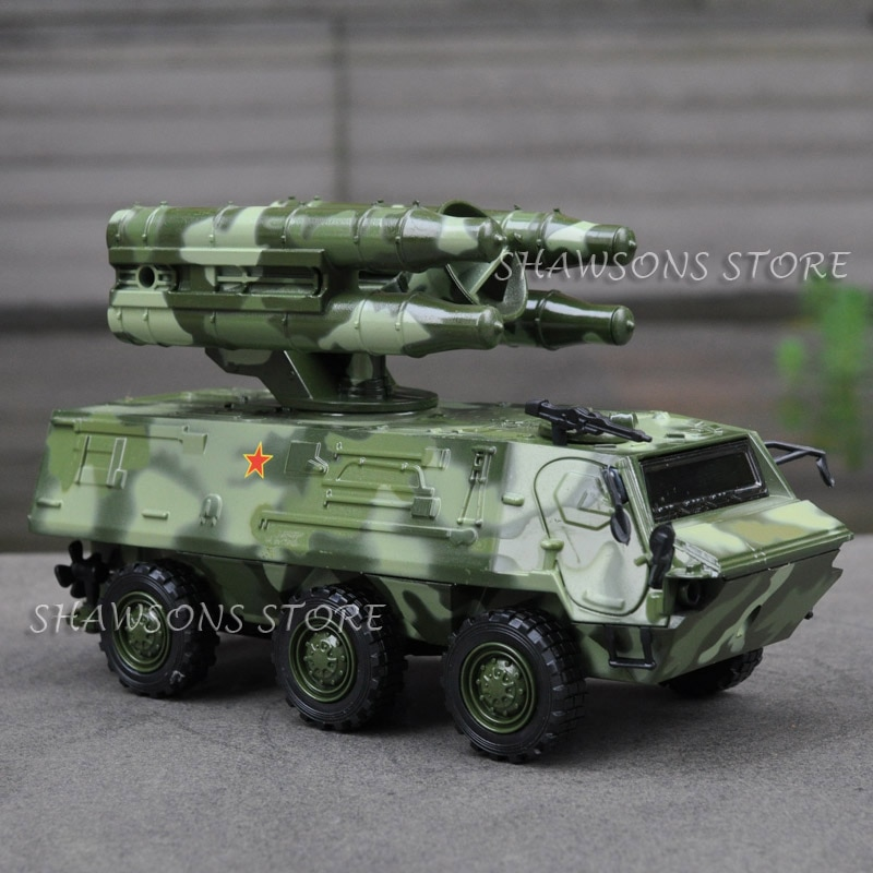 Diecast Military Model Toy 1:43 Anti-Tank Missile Carrier Armored Car Vehicle Pull Back Replica Sound & Light