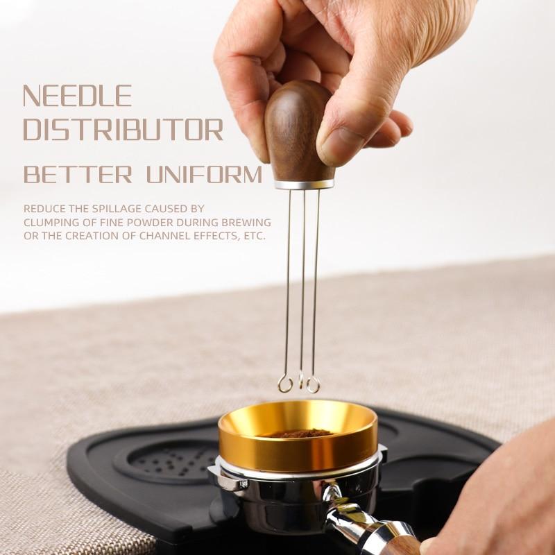 Aguja de mango de madera maciza para café, compactador de 58MM y 51mm, herramienta niveladora, distribuidor de polvo de café tipo aguja