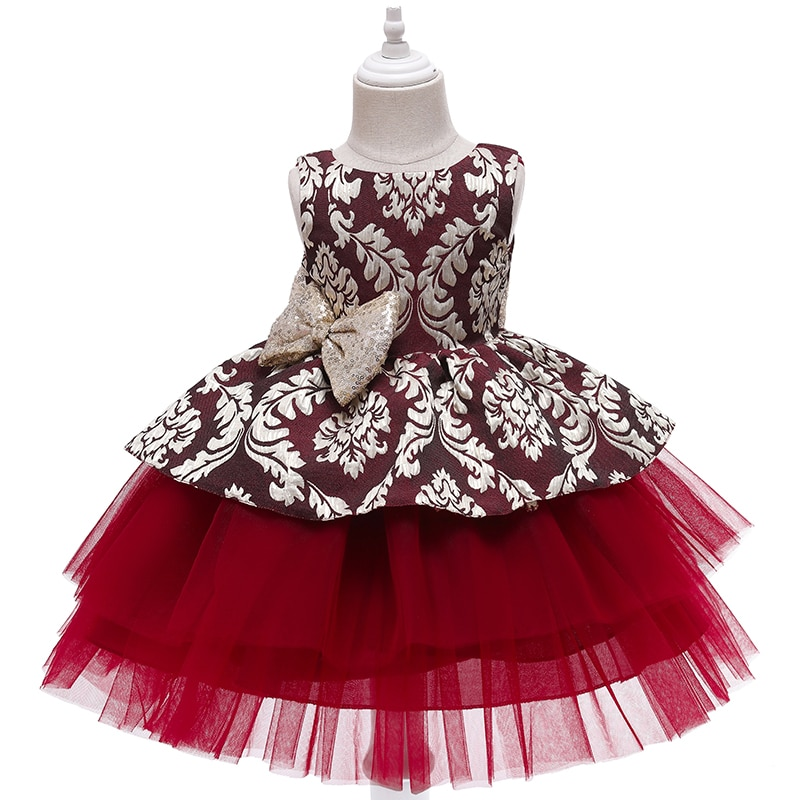 2021 New Girl Dress New Year party dress Christmas Gift Girl mesh Dress Party Princess Dress 1 2 3 4 5 year old