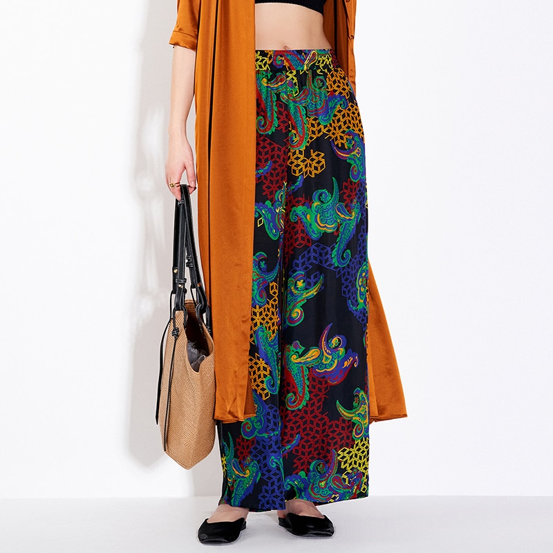 Pants Women Casual Style 46% Silk Blended Printed Elastic Waist Pockets Wide Leg Loose Straight Pants Ladies New Fashion