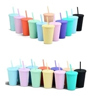 candy macaron color large capacity pipette suction with lid water bottle straw cup milk cup coffee jar