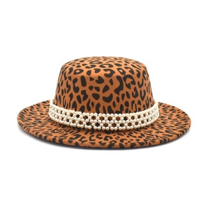 Women's leopard print flat top hair hat flat eaves hat retro hair hat men's travel jazz hat