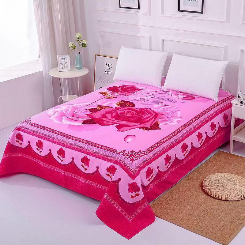 1pc Floral Sanding Soft Wedding Bed Sheet Big Large Size 245x245cm Flat Bed Sheet Thicken Twin Bedsheet No Pillowcase