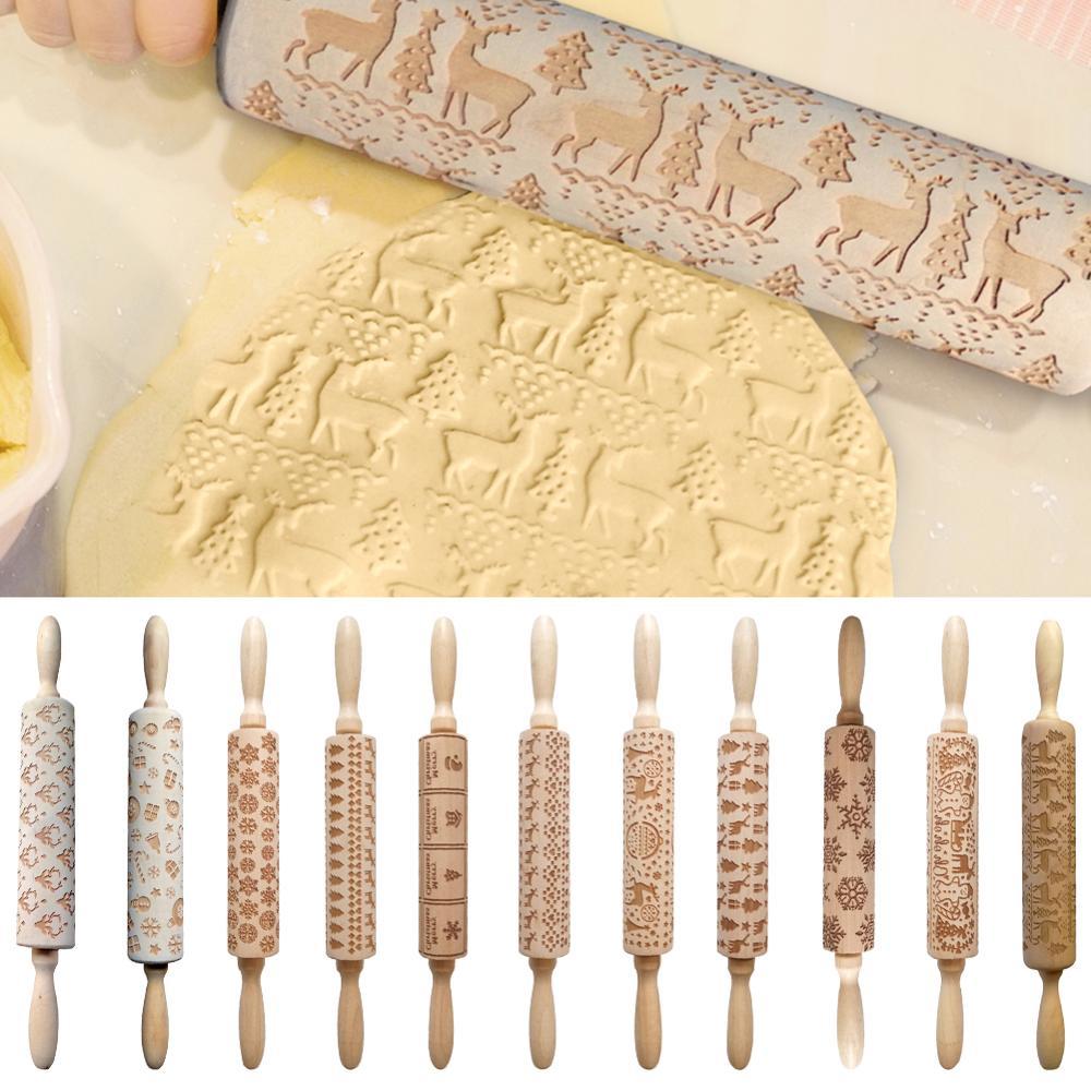 Vktech natal rolo pino do laser de madeira natal gravação rolo pino massa vara ferramenta pastelaria cozimento ano novo decoração