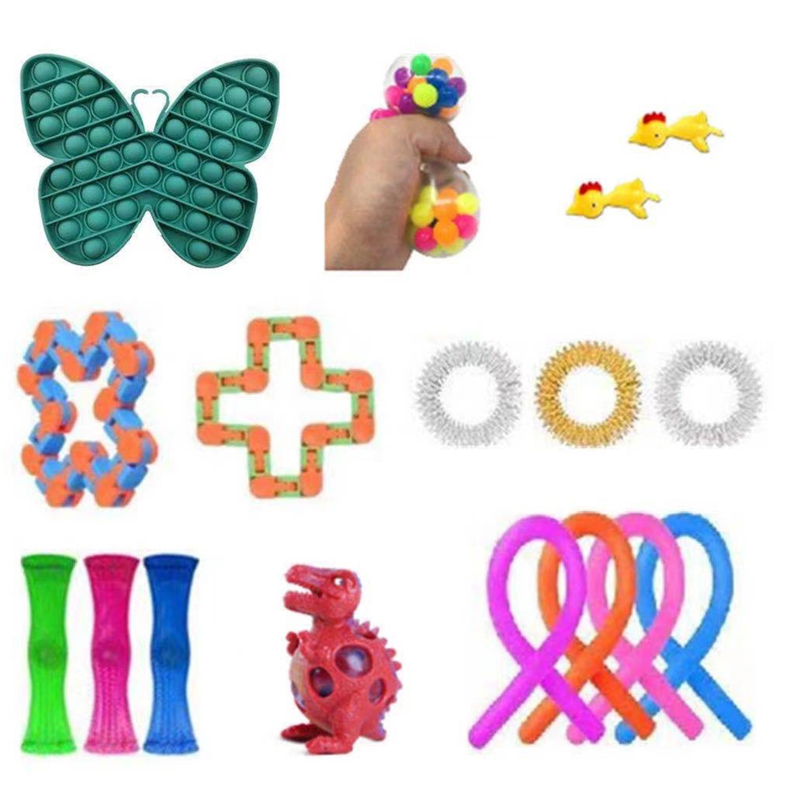 1Set Of Fidget Toys Stress Relief Toys Autism Anxiety Relief Stress Pop Bubble Sensory Decompression Toy For Kids Adults Gift enlarge