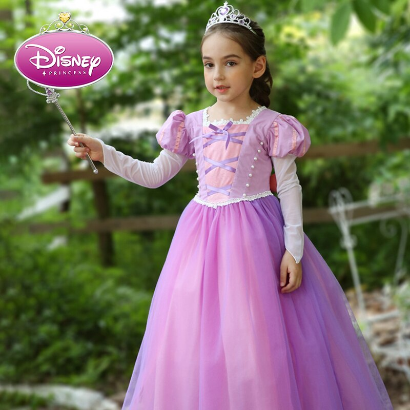 Vestido de princesa de Disney para niñas, vestidos infantiles para niñas, Tangled Rapunzel, vestido de Navidad, disfraz de fiesta, ropa de manga larga para niñas