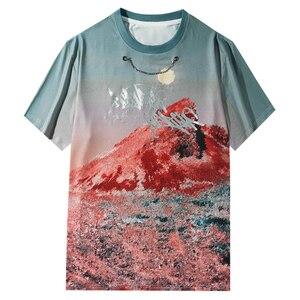 LACIBLE Gradient Tie Tye Print T Shirts Chain Streetwear Harajuku Hip Hop Summer Casual Fashion Loose Short Sleeve T-Shirt Men